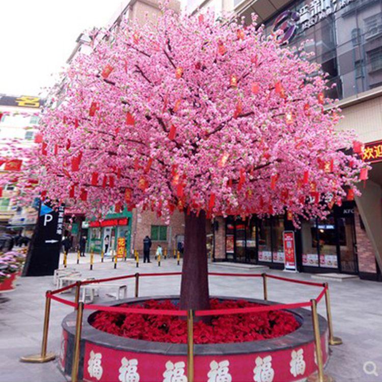 仿真樱花树许愿树桃花树酒店商场室内装饰新年春节假花许愿树假树