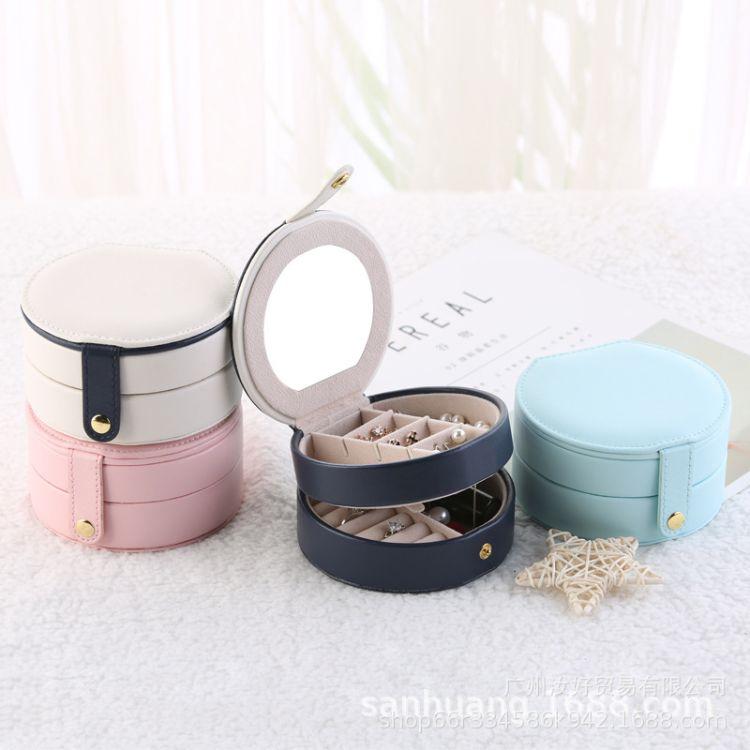 新品跨境热销款韩式小首饰盒多层便携珠宝饰品盒皮革耳钉耳环收纳