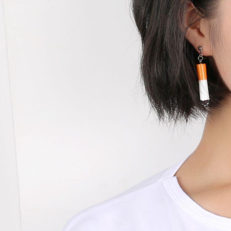 日韩搞怪香烟耳环长款烟头无耳洞耳夹创意个性耳勾ins风耳钉批发