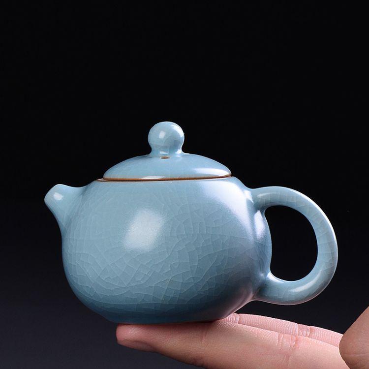 迷你小号汝窑茶壶功夫茶玩摆件 精品开片可养指尖西施壶茶宠袖珍