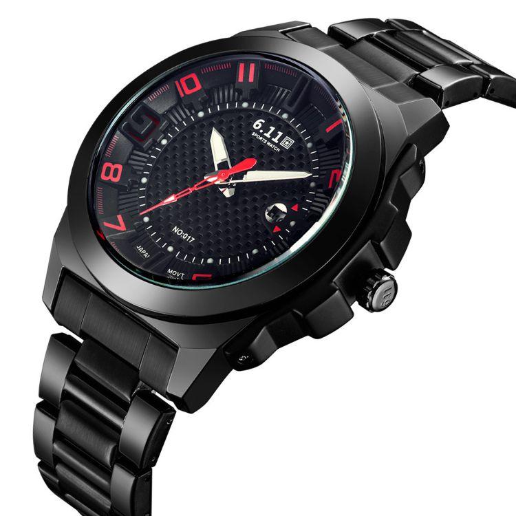 时尚NO-017光波防水节能环保日历光电手表光能手表 男士钢带手表