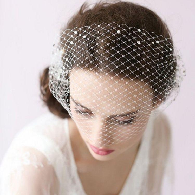 新娘结婚复古面罩粘钻大眼网短头纱面纱婚纱礼服配饰头饰外贸货源