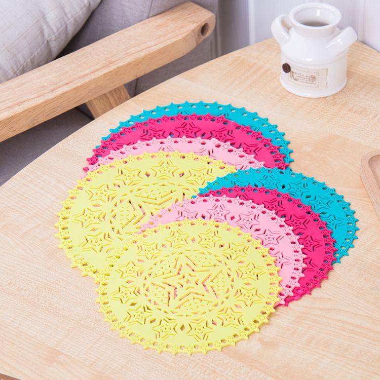 食品级硅胶餐垫 创意五角星耐高温隔热垫杯垫易清洗台垫餐具垫