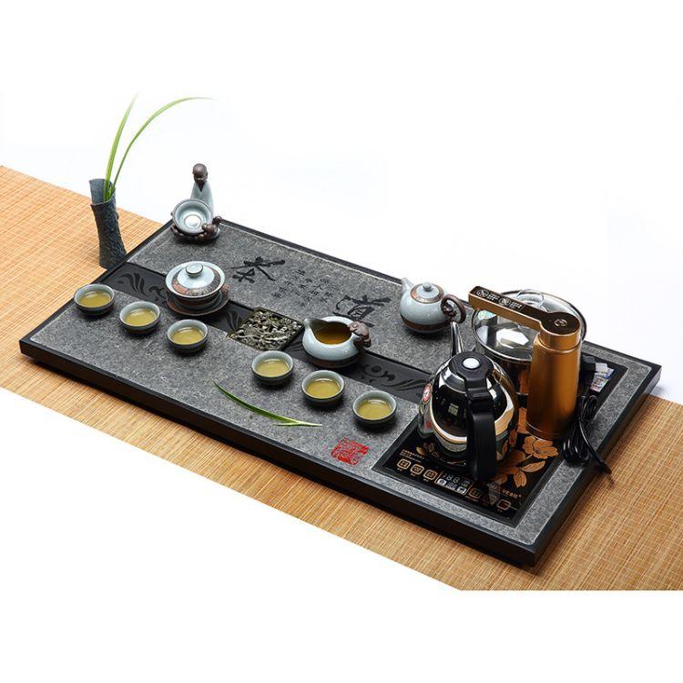 天然烏金石茶盤茶具套裝簡約家用四合一電磁爐一體全自動石茶臺