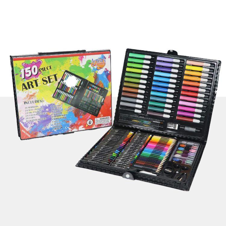 画笔儿童绘画套装150件开学美术油画棒绘画彩笔颜料套装工具批发