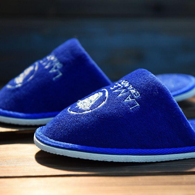 宾馆客房用品蓝色织布条 酒店一次性拖鞋 密丝绒防滑拖鞋可加LOGO