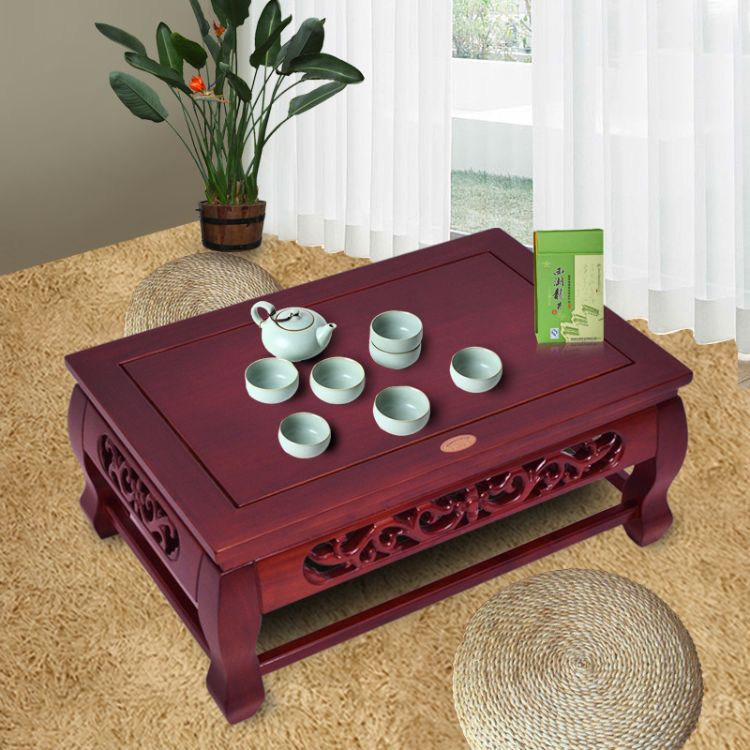 仿红木中式透雕全实木炕桌榆木榻榻米茶几仿古茶桌飘窗桌矮桌包邮