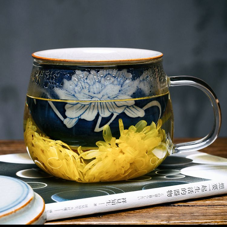 耐热加厚玻璃泡茶杯子 陶瓷手绘过滤内胆花茶水杯办公带盖个人杯