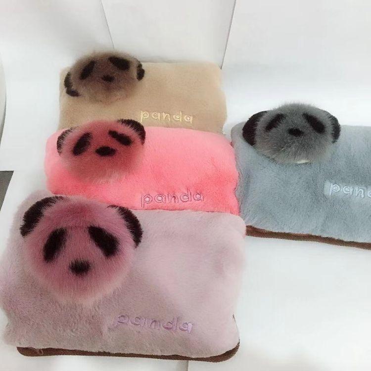 【拉链熊猫毛绒电暖宝】冬季新款热水袋便携可拆洗保暖充电防爆