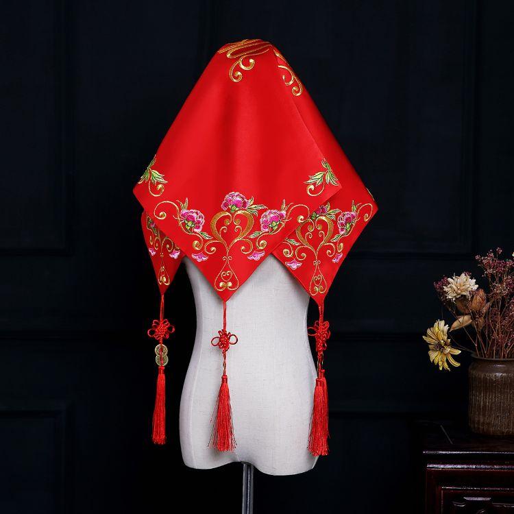 批发红盖头流苏双喜绣花新娘婚礼旗袍绸缎头巾古装戏表演拍照头饰