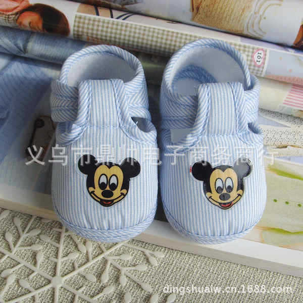 【批发】卡通米奇造型可爱透气婴儿鞋宝宝学步鞋蓝色11码童鞋鼎帅