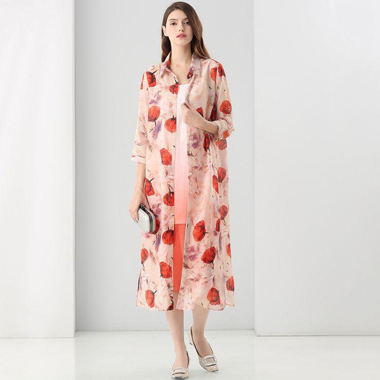 春新款欧美女装真丝印花翻领7分袖长款外套渐变色吊带内搭两件套