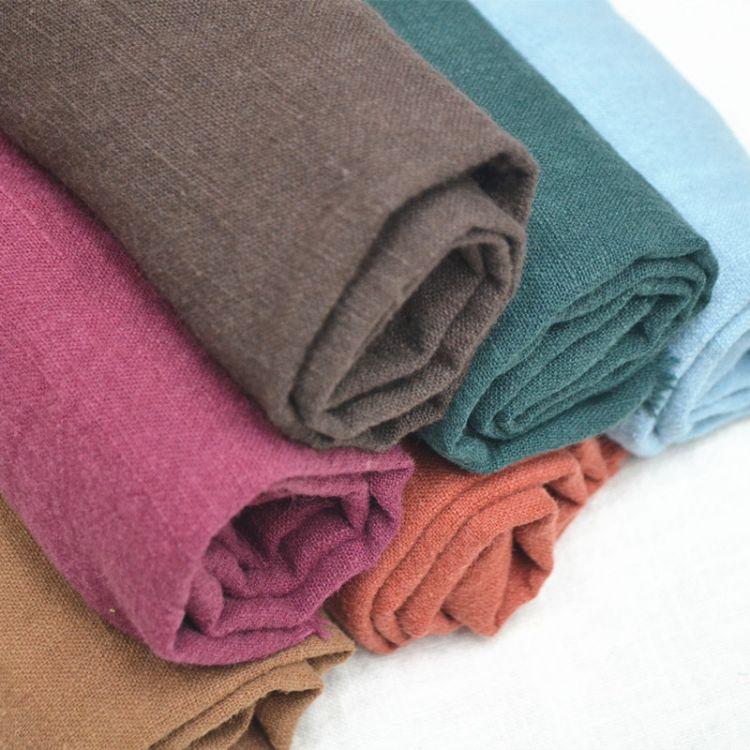 高品质纯苎麻竹节洗皱面料 竹节麻面料秋冬裤装中式服茶艺用布