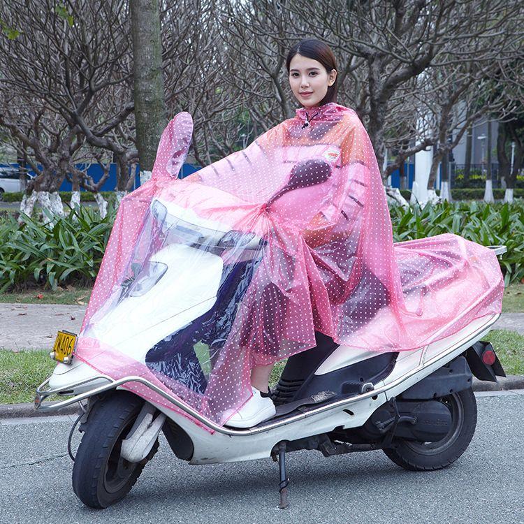 PVC圆点透明反光电瓶摩托车雨衣包边帽檐电动车分体雨衣批发