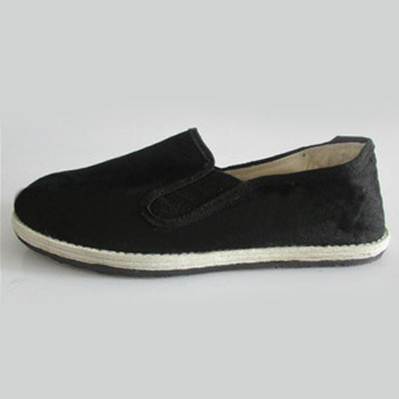 千层底黑色布鞋 松紧口工作鞋平底透气单布鞋 春夏季懒人单鞋