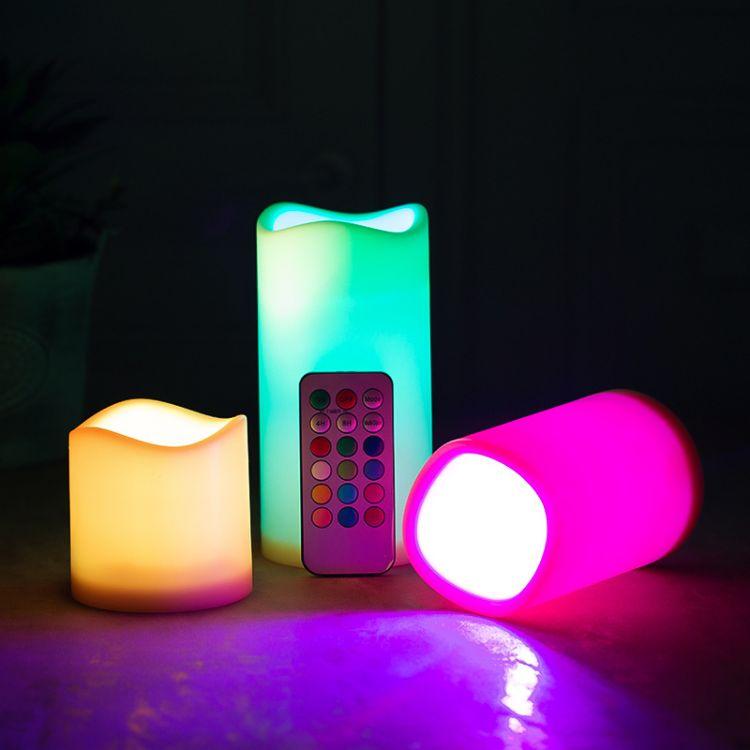 厂家直销18键led电子遥控蜡烛灯浪漫创意婚庆变色蜡烛三件套装