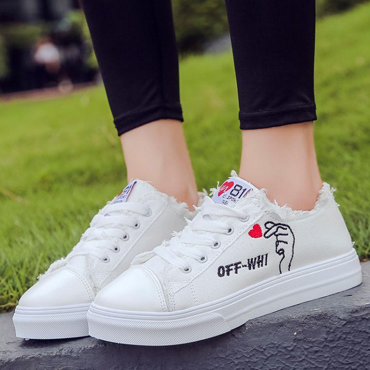 棉鞋女2018秋冬季韩版百搭休闲鞋女学生比心小白鞋 加绒棉鞋系带