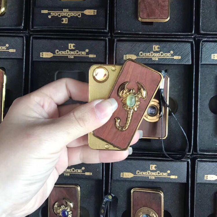 沉香紫檀木质工艺品男士点烟器送礼打火机  可充电重复实用点火器