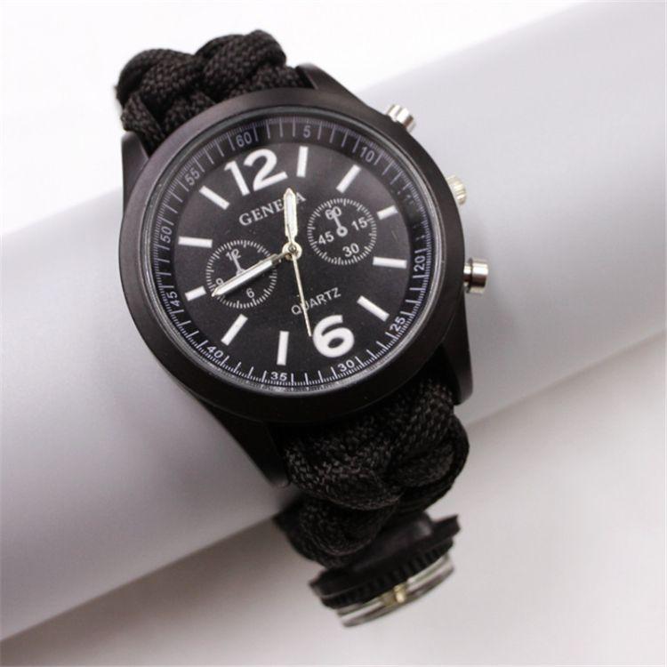 新款开发手工编织伞绳时尚手表 易贝热销产品多功能户外伞绳手表