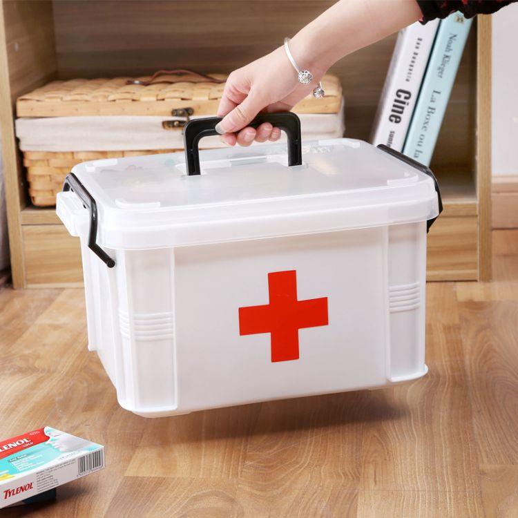 厂家直销药箱大号 手提多层急救箱 药品分格收纳家庭药箱塑料批发