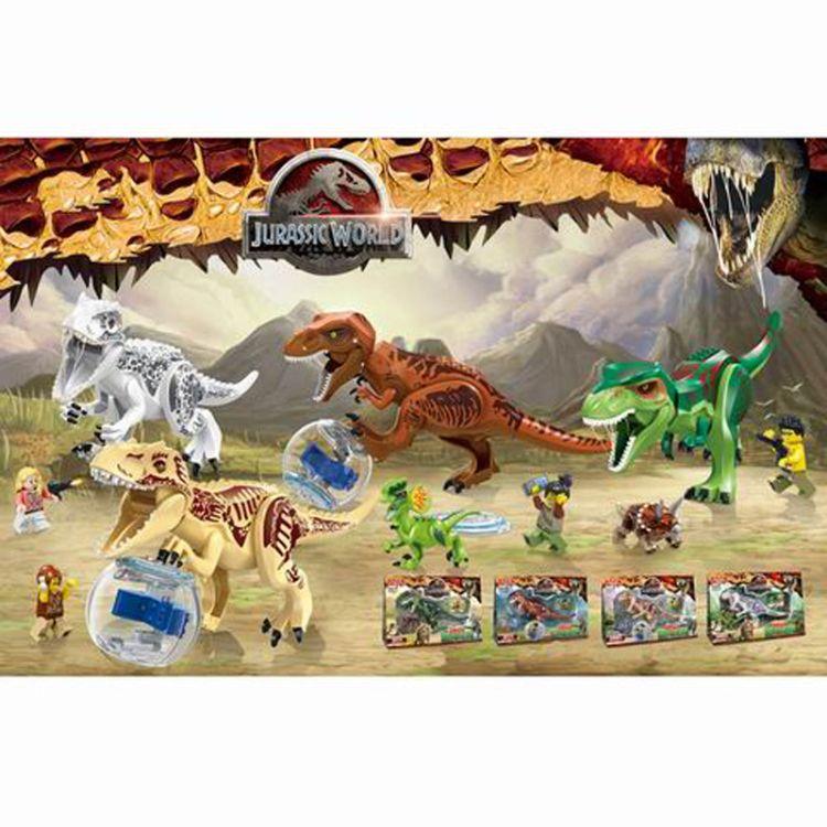 新品爆款 侏罗纪暴龙霸王龙大恐龙积木 儿童益智拼装积木玩具跨境