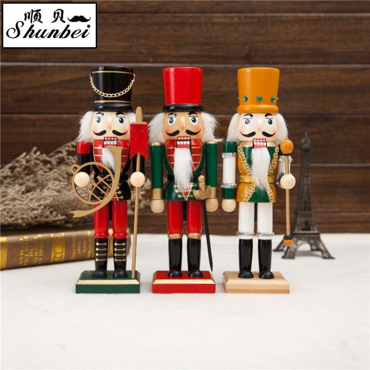 新品工艺品 25CM胡桃夹子木偶人 圣诞礼物简欧装饰摆件外贸批发