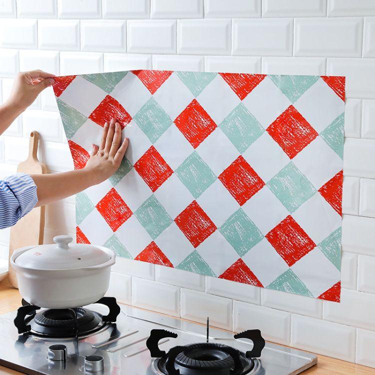 自粘贴纸灶台耐高温防油贴厨房瓷砖防水贴油烟墙清洁用具批发