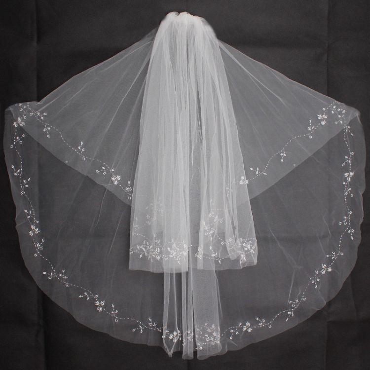 韩式新款手工双层新娘结婚头纱婚纱串珠亮片蕾丝白色礼服配饰批发