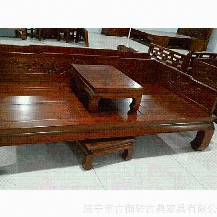 老榆木罗汉床  现代简约罗汉床  雕花罗汉床客厅摆件厂家可定做