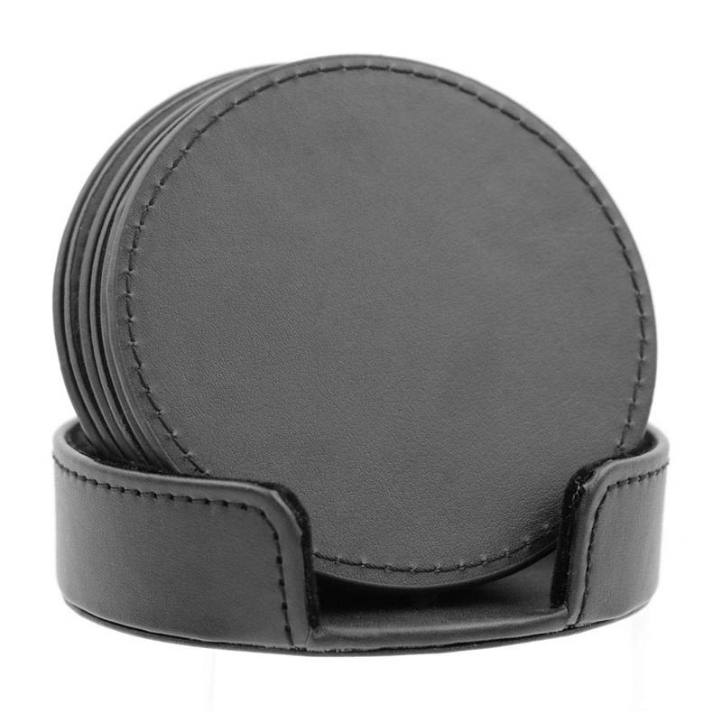 厂家定制圆形皮革杯垫套装 精美防滑隔热餐垫 PU创意茶水杯垫加工