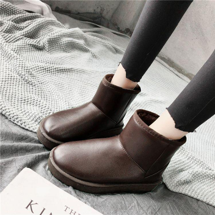 2018冬季新款雪地靴女情侣短筒保暖加绒加厚短靴韩版百搭学生棉鞋