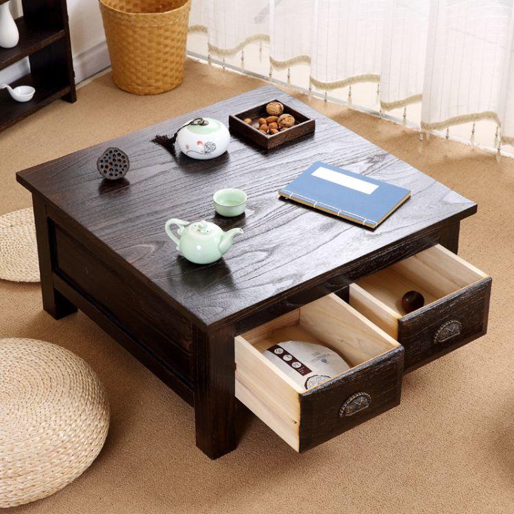 烧桐飘窗桌 实木创意日式榻榻米茶几地台 复古八仙矮炕桌