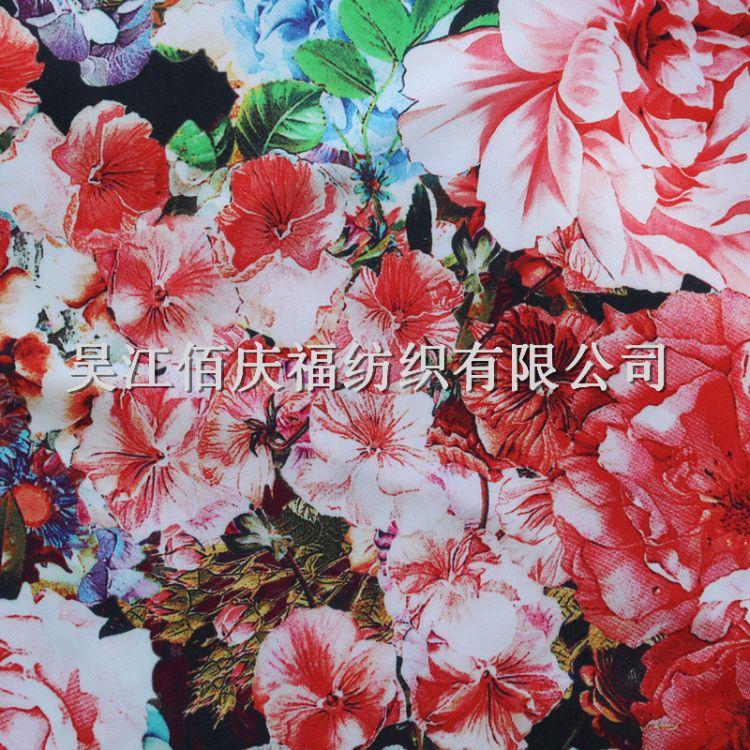 厂家直销彩色数码印花缎面布料 新款可定制时尚连衣裙服装布料