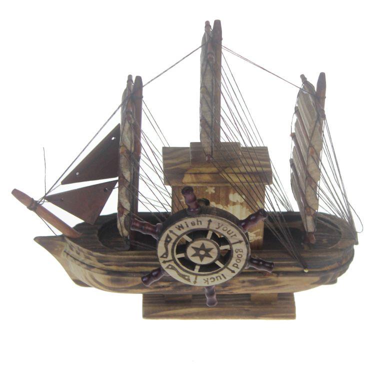 创意实木木质海盗船帆船模型木制一帆风顺家居摆件音乐盒工厂批发
