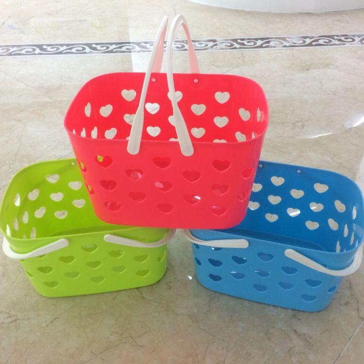 厂家直销 心形手提篮 收纳篮 菜篮 杂物筐 塑料环保置物篮