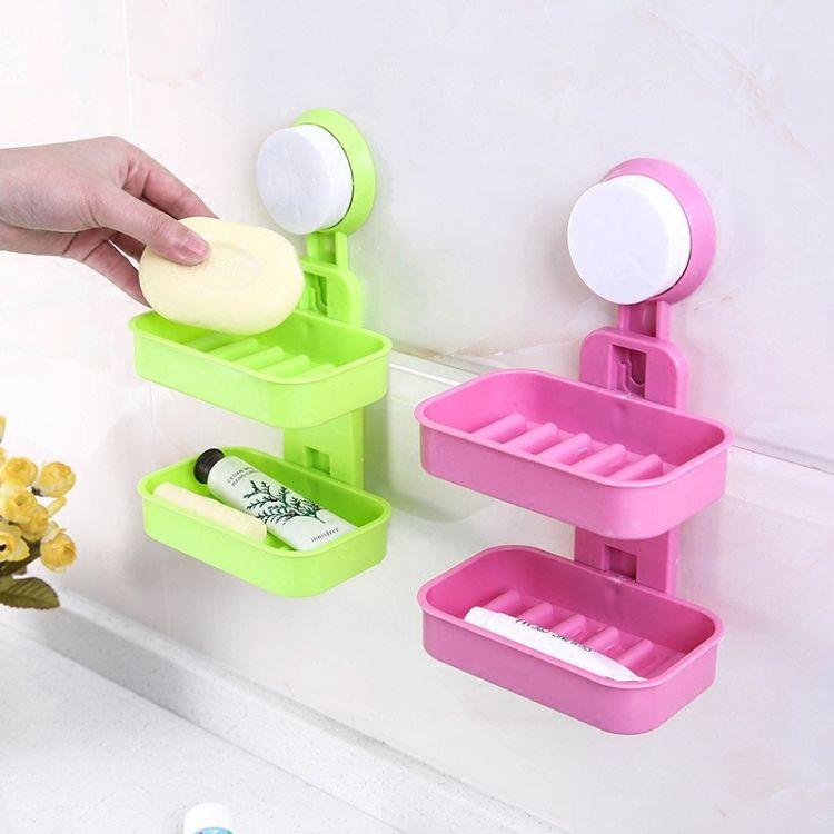浴室吸盘无痕肥皂盒双层香皂盒沥水置物架壁挂卫生间皂托洗漱台架