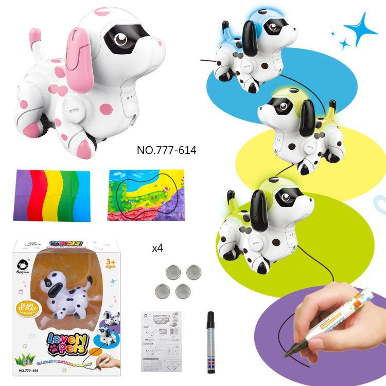 电动沿线感应变色狗玩具跟笔车智能宠物狗灯光音效新奇特玩具外贸