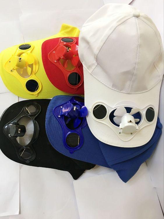 夏季新款男女儿童带开关太阳能蓄电风扇帽子防晒遮阳帽带风扇帽