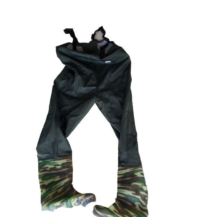 厂供防水绝缘水裤 耐磨硫化水裤 双肩绳半身水裤 橡胶水裤