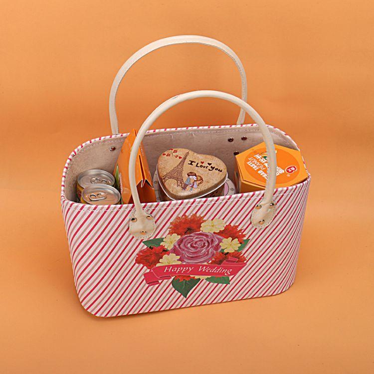 新品花样手提购物袋 皮篮子 婚庆礼品 艺术篮 厂家直销 来样订做
