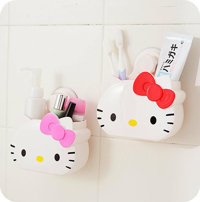 hello kitty卡通居家可爱无痕胶塑料收纳桶 牙刷架牙膏筒 杂物盒