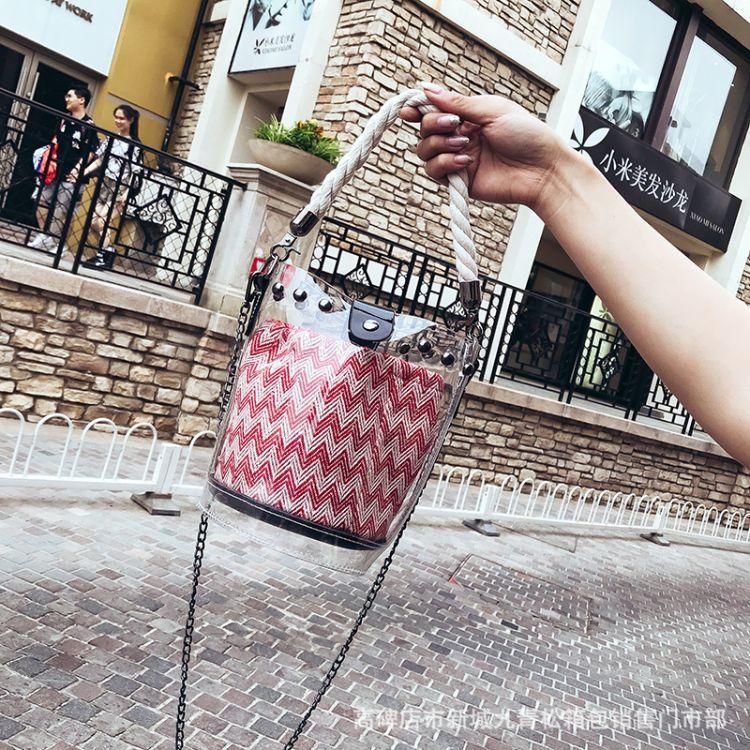 果冻透明包包女2018新款潮夏天水桶包韩版ins超火链条斜挎小包包