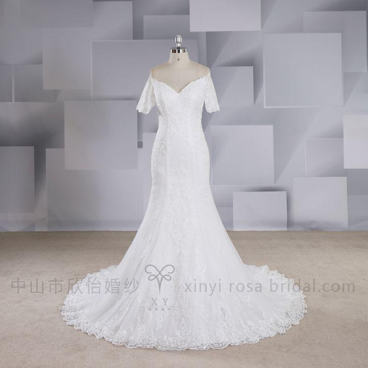 新款鱼尾露肩短袖V领婚纱礼服