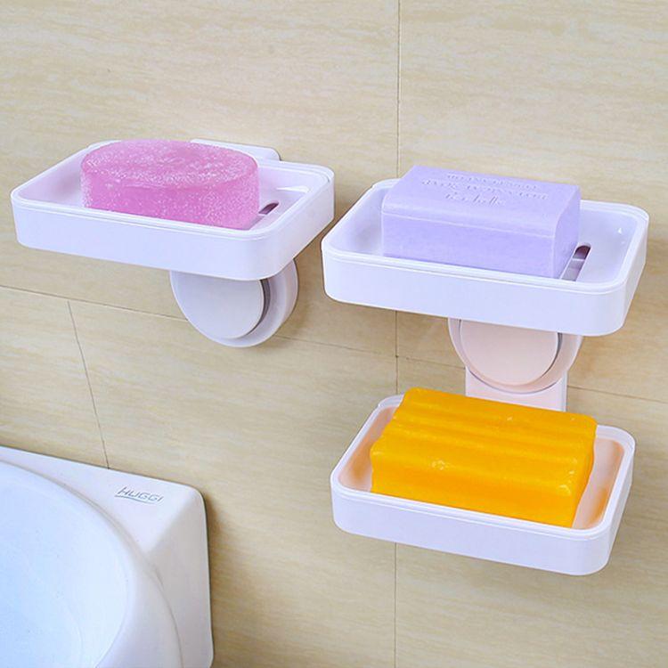 强力吸盘单层双层肥皂盒架 浴室卫生间创意壁挂沥水皂托香皂盒