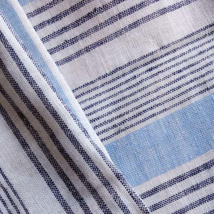 麻粘混纺面料 大横条纹布  时间春秋装布料 条纹衬衫面料