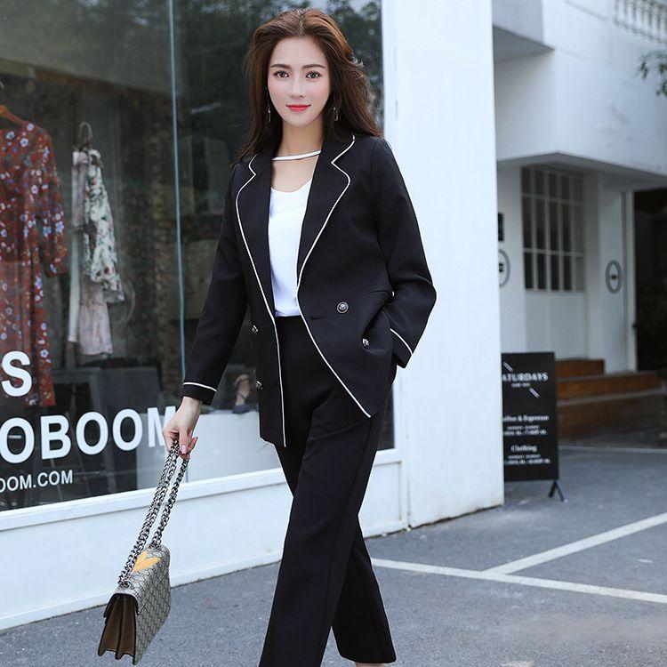韩版新款职业女装两件套-西装外套-长裤