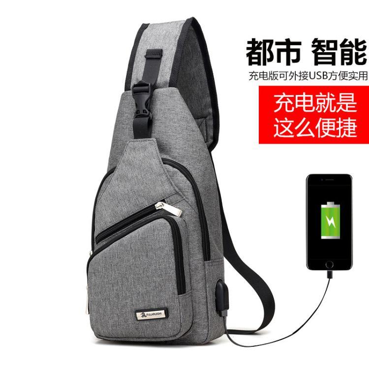 跨境 批发男士胸包休闲商务随身男包户外旅行包外置USB充电接口包