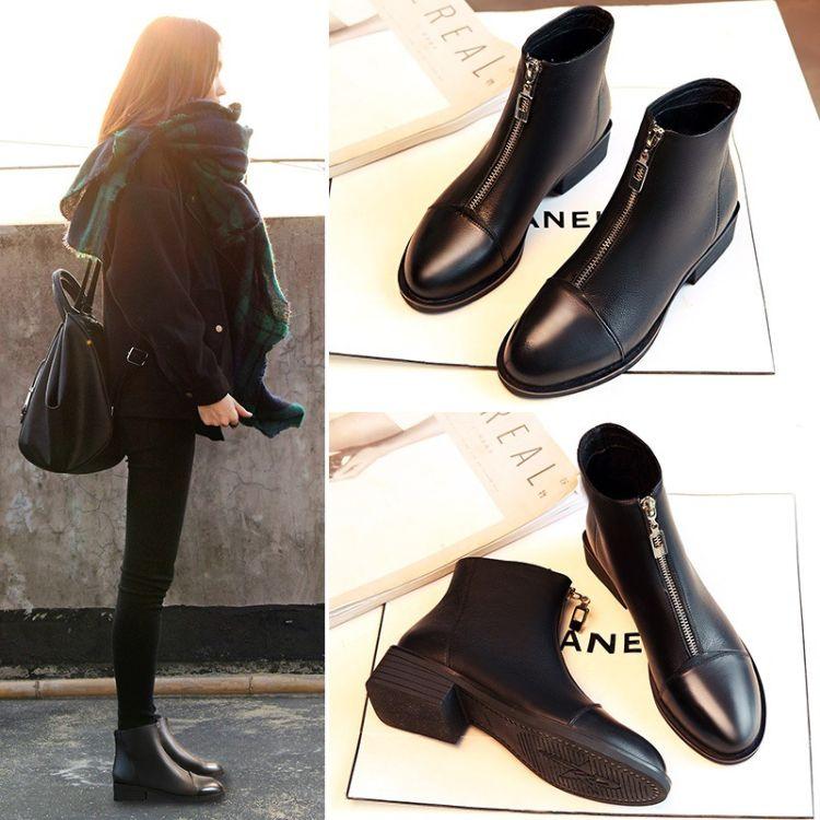 靴子女小跟短靴2018秋冬新款粗跟平底马丁靴欧美时尚中跟女式短靴