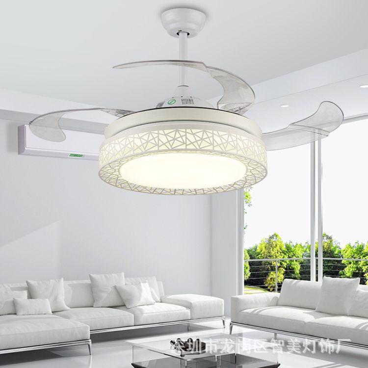 现代简约个性创意鸟巢隐形风扇吊灯42寸