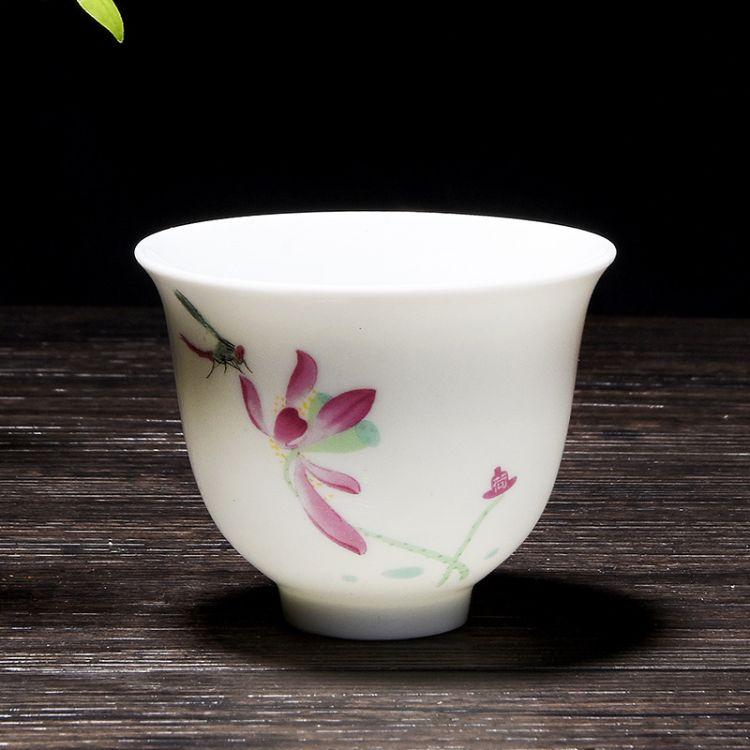 个人单杯茶碗批发定制青花小茶杯陶瓷品茗杯创意功夫茶具闻香单杯